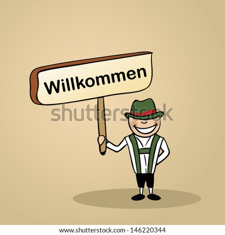 Trendy german man says welcome holding a wooden sign sketch. - stock photo