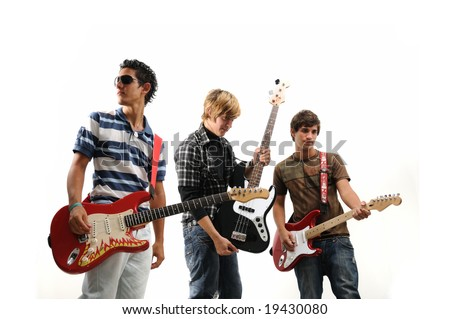 Trendy group of teenagers with musical instruments - isolated - stock photo