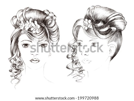 trendy hairstyle in two perspectives - stock photo