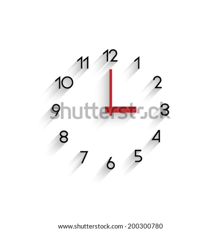 Trendy minimalistic clock with transparent shadow. Raster version - stock photo