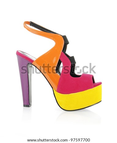 trendy multicolored shoe isolated on white - stock photo