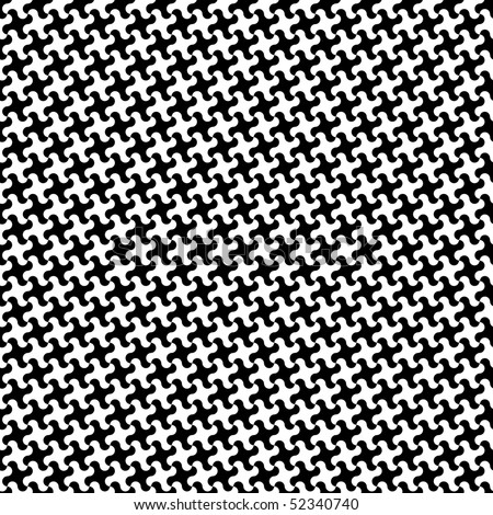 Trendy puzzle pattern in black and white repeats seamlessly. - stock photo