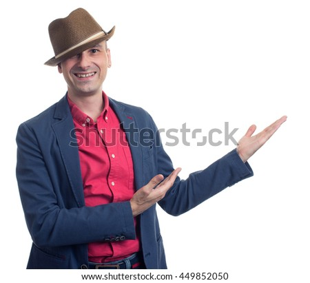 trendy smiling man presenting something over white background