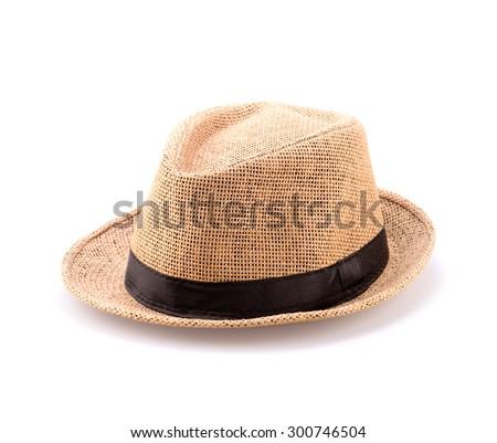 Trendy stylish men hat isolated on white background - stock photo