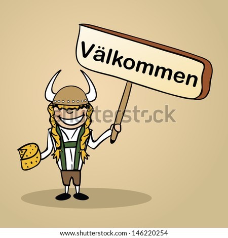 Trendy swedish woman says welcome holding a wooden sign sketch. - stock photo
