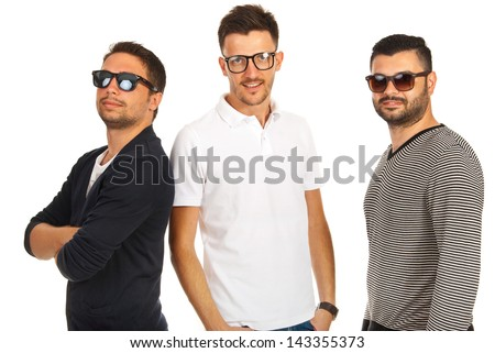 Trendy three friends with sunglasses or eyeglasses isolated on white background