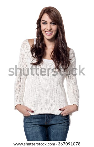 Trendy woman posing with hands in pocket