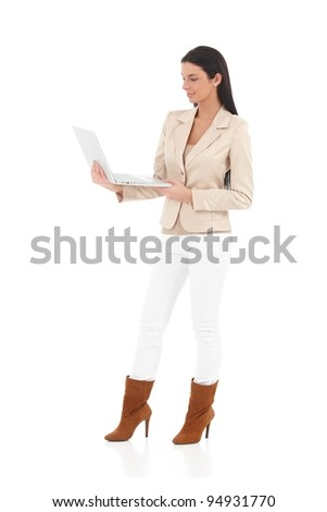 Trendy woman standing with laptop in hand, smiling.?