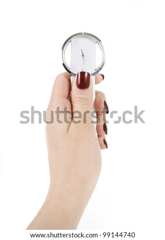 trendy wrist watch in woman hand isolated on white