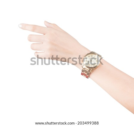 trendy wrist watch on woman hand isolated on white background - stock photo