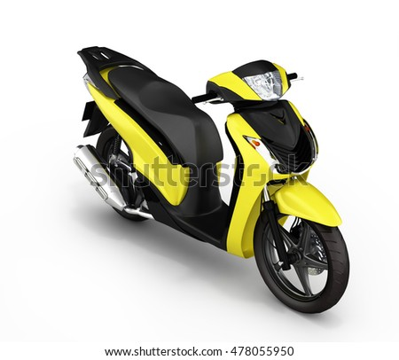 Trendy yellow scooter on white background 3d