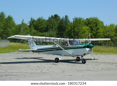 TRENTON, MAINE - JULY 5: Cessna 172P plane in Hancock County Bar Harbor airport on July 5, 2013. Cessna is the most popular light aircraft ever built