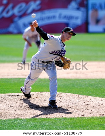 TRENTON, NJ - APRIL 14: Akron Aeros pitcher Bryan Price releases a pitch in an Eastern League game on April 14, 2010 in Trenton, NJ.