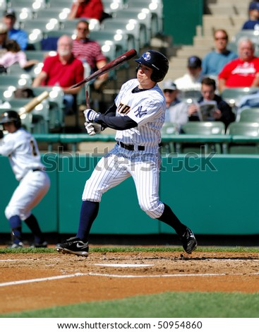 TRENTON, NJ - APRIL 14: Trenton Thunder outfielder Damon Sublett shatters his bat on a swing on April 14, 2010 in Trenton, NJ.