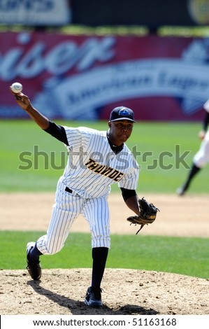 TRENTON, NJ - APRIL 14: Trenton Thunder pitcher Noel Castillo releases a pitch in an Eastern League game on April 14, 2010 in Trenton, NJ.