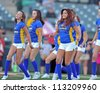 TRENTON, NJ - AUGUST 28: Members of the Trenton Thunder dance team perform prior to a baseball game between the Trenton Thunder and New Britain Rock Cats August 28, 2012 in Trenton, NJ. - stock photo