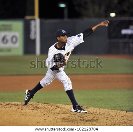 TRENTON, NJ - MAY 5: Francisco Rondon, from Trenton, delivers a pitch during the Eastern League game against Trenton May 5, 2012 in Trenton, NJ