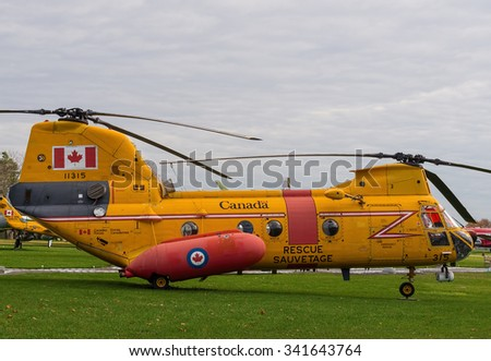 TRENTON - NOVEMBER 5, 2015: Boeing Vertol (Labrador) helicopter aka CH113 displayed at National Air Force Museum of Canada in Trenton, Ontario. It was used for army transport between 1963 and 2004.  - stock photo