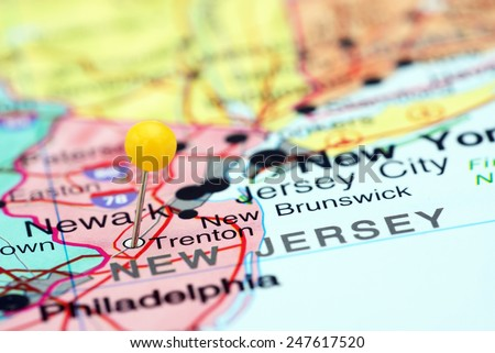 Trenton pinned on a map of USA  - stock photo