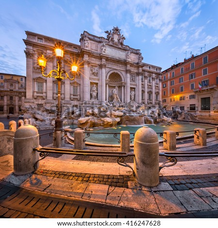 Trevi Fountain and Piazza di Trevi in the Morning, Rome, Italy - stock photo
