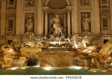 Trevi fountain in Rome at night. - stock photo