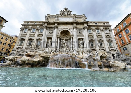 Trevi Fountain is a fountain in the Trevi district in Rome, Italy, designed by Italian architect Nicola Salvi and completed by Pietro Bracci - stock photo