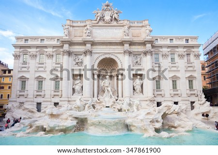Trevi Fountain, largest Baroque fountain in the city and one of the most famous fountains in the world located in Rome, Italy. - stock photo
