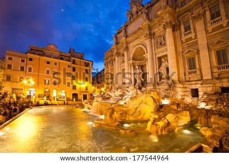 Trevi fountain, Rome  - stock photo