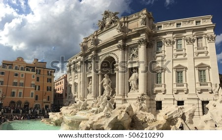Trevi Fountain, 10.09.2016, Rome. View of the Trevi Fountain after the restoration and renovation. It was designed by Nicola Salvi. Rome. Italy.