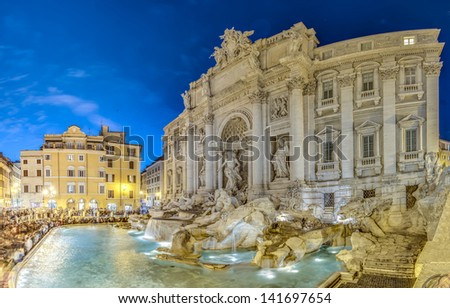 Trevi Fountain, the largest Baroque fountain in the city and one of the most famous fountains in the world located in Rome, Italy. - stock photo