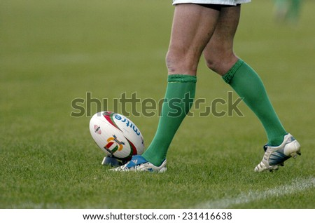 TREVISO, ITALY-MAY 28, 2005: Treviso rugby player prepares to kick a penalty during the italian final rugby match, Treviso vs Calvisano, in Treviso. - stock photo