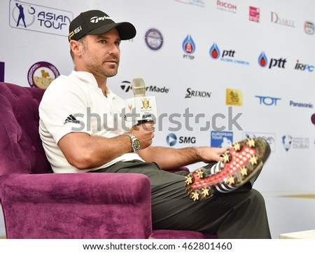 Trevor Immelman of South Africa speaks  during the Press Conference before match  the King's Cup 2016 at Phoenix Gold Golf and Country Club on July 27, 2016 in Pattaya, Thailand.
