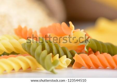 Tri color Fusilli pasta close up - stock photo