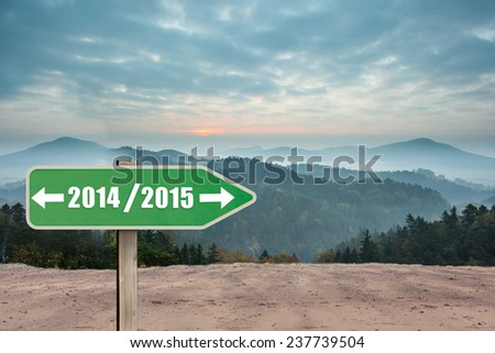 Triangle against misty landscape - stock photo