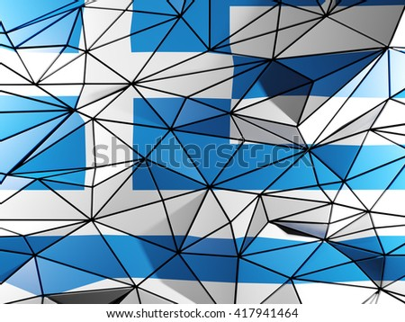 Triangle background with flag of greece. 3D illustration