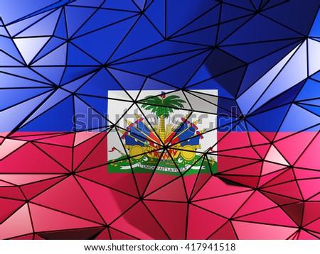 Triangle background with flag of haiti. 3D illustration - stock photo