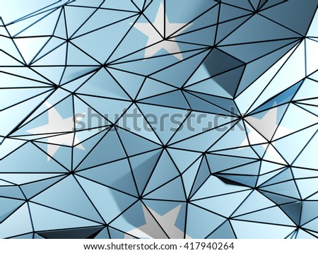 Triangle background with flag of micronesia. 3D illustration