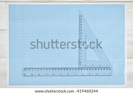 Draw your graphic plan on this stock illustration 6851818 triangle centimeter ruler and simple centimeter ruler on a blueprint top view composition measuring malvernweather Images