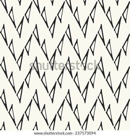 Triangle contour zigzag background in black and white. Seamless pattern. - stock photo