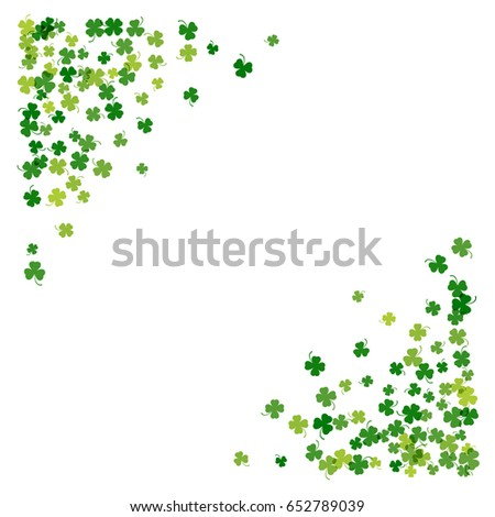 Triangle Corner Green Frame Or Border Of Random Scatter Transparent Clover Leaves With Tail St