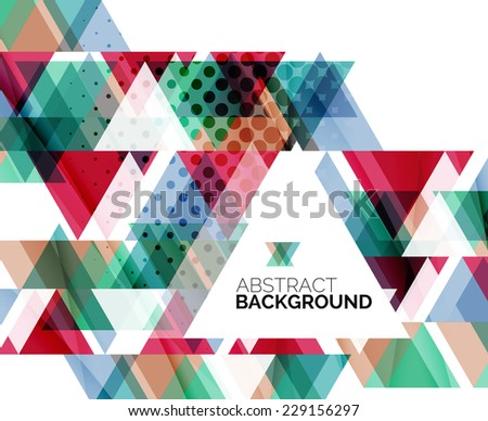 Triangle geometric abstract background, colorful business or technology design on white with sample text