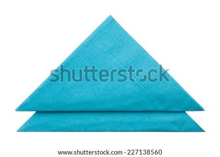 Triangle napkins isolated on white background, close up - stock photo
