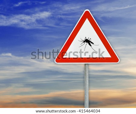 Triangle on rod road sign mosquito attention with cloudy sky - stock photo