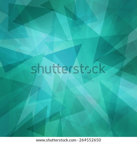 triangle pattern background with random abstract background design and texture, teal blue green and white triangles layers - stock photo