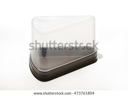 Triangle plastic container on white background.