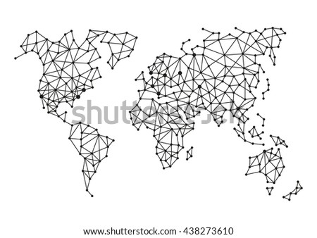 Black abstract world map vector paper vectores en stock 454825129 triangle polygonal style world map on white background illustration gumiabroncs Choice Image