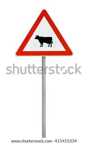 Triangle road sign cow attention on rod