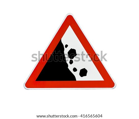 Triangle road sign falling rocks - stock photo