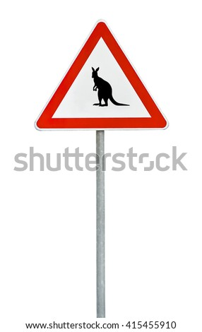 Triangle road sign kangaroo attention on rod
