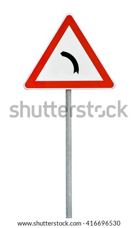 Triangle road sign left turn  - stock photo